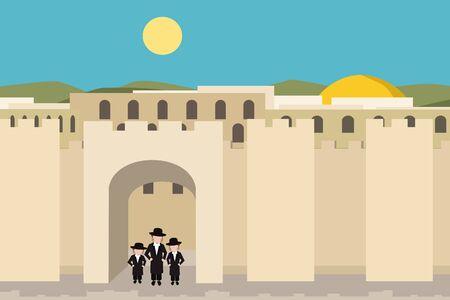 jerusalim old city  - background cartoon vector illustration Illustration