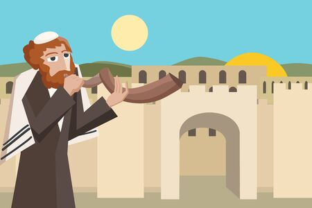 yom kippur: jew blowing the shofar at jerusalim old city  - colorful vector cartoon illustration Illustration