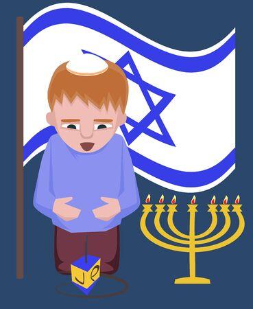 spinning top: jewish kid with spinning top, hanukkah greetings - vector cartoon illustration