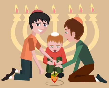 jewish kids with spinning top, hanukkah symbol - vector cartoon illustration Illustration