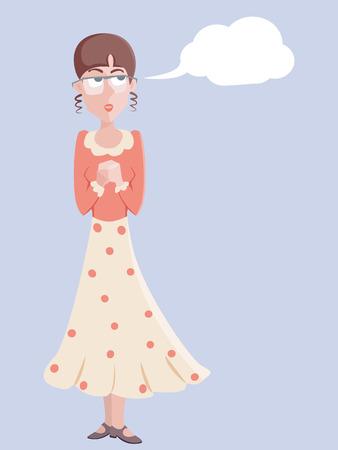 cartoon portait of romantic girl