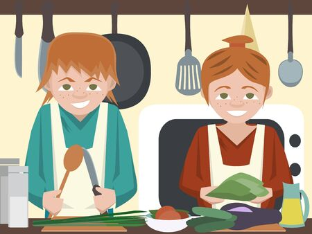 novice: kids at kitchen cooking vegetables vector cartoon Illustration
