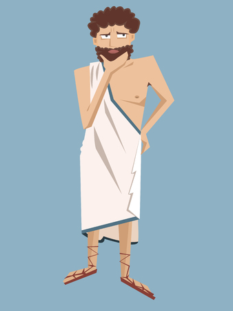ancient greek philosopher vector cartoon