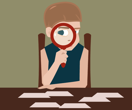 boffin: boy with magnifying glass vector cartoon