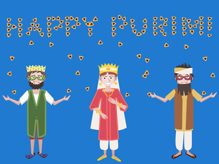 book of esther: purim greetings, kids with hamantaschen vector cartoon