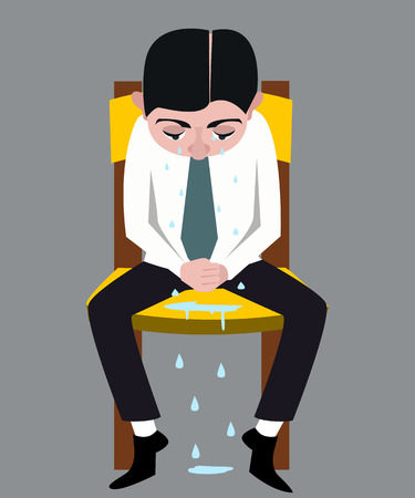 man sitting on the chair, crying with many tears vector cartoon Иллюстрация