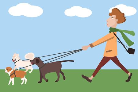 man walking with dogs - funny vector cartoon illustration Illustration