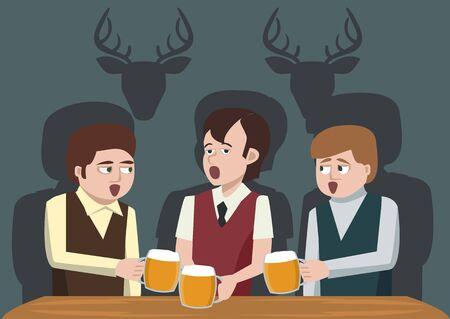 soiree: men drinking beer and singing vector cartoon Stock Photo