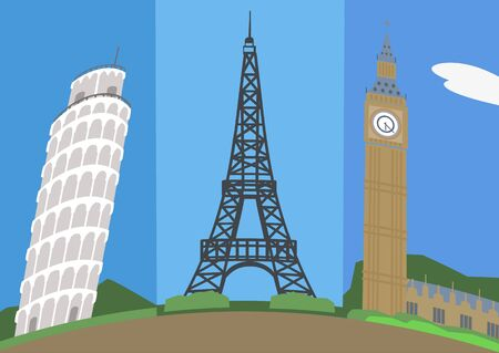 cartoon europe attractions vector background