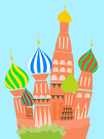 orthodoxy: cathedral vasily blessed vector cartoon