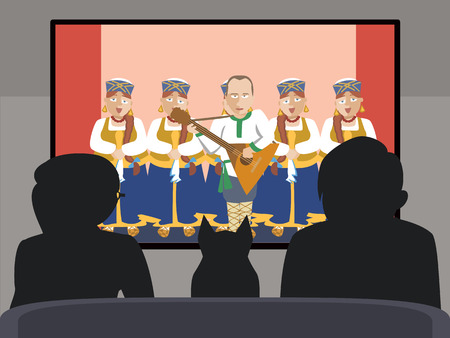 stage costume: people watching TV folk russian show vector cartoon Illustration