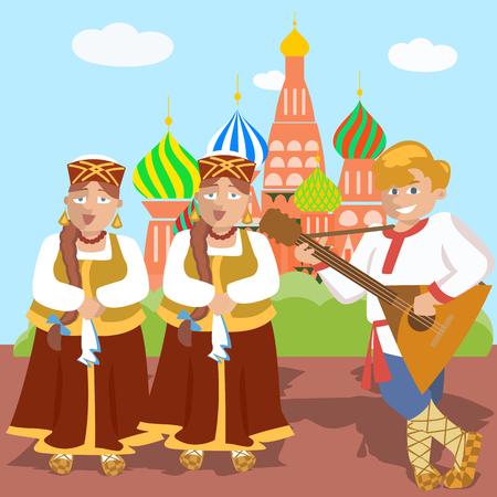 stage costume: russian cartoon folk band against church