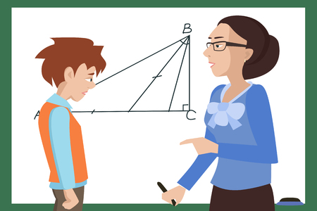 teacher and student: student has troubles at math lesson vector cartoon