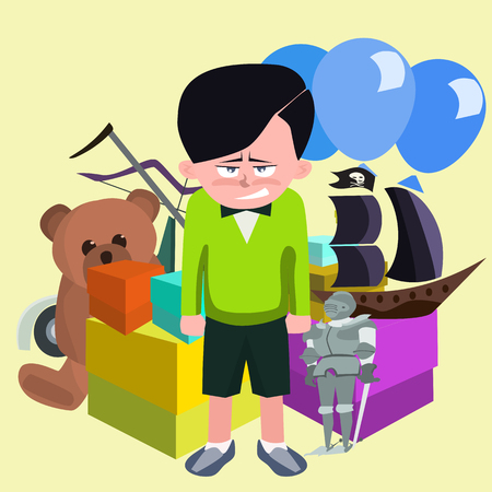 dissatisfied boy against pile of childrens gifts cartoon Illustration
