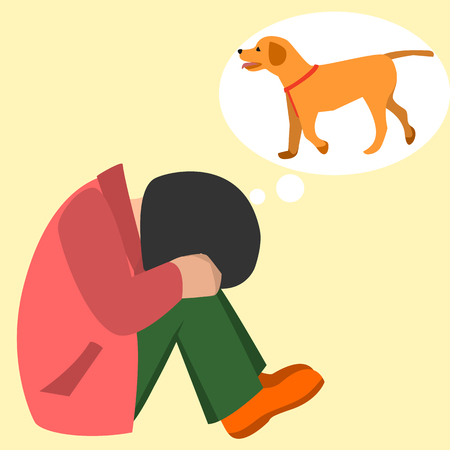 child crying about pet dog vector cartoon Illustration