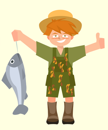 kid with caught fish vector cartoon
