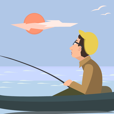 catoon: man fishing from the boat vector catoon Illustration