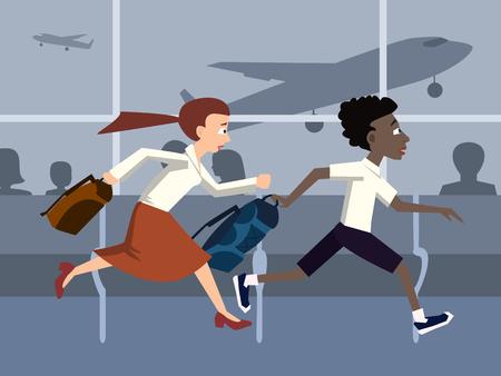 La gente llega tarde a una caricatura de avión