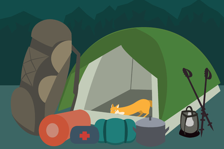 hiking gear at camping vector cartoon Illustration