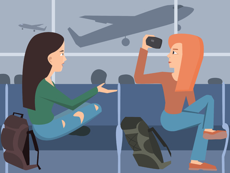 Girls shooting travel video at airport. Illustration