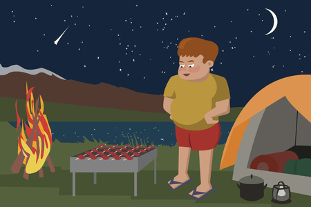 Man fries meat on a grill at camping area - funny cartoon vector illustration. Illustration