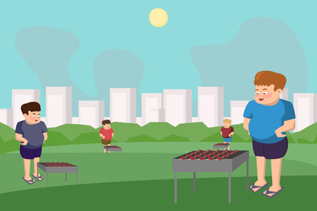 People barbecuing at the park - funny vector cartoon background. Illustration