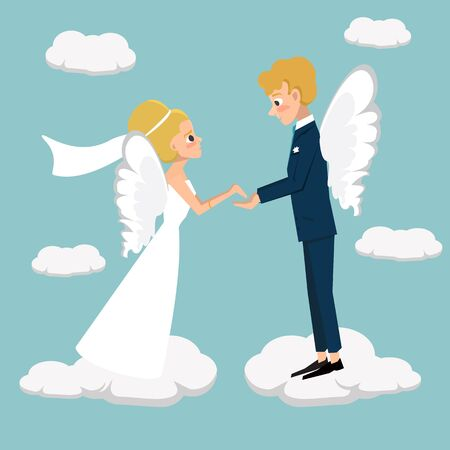 young married couple fly in heaven - funny vector cartoon illustration
