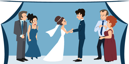 young couple with parents under chuppah at wedding ceremony Illustration