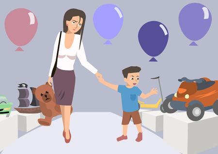 장난감 가게 만화에서 아이와 피곤한 엄마