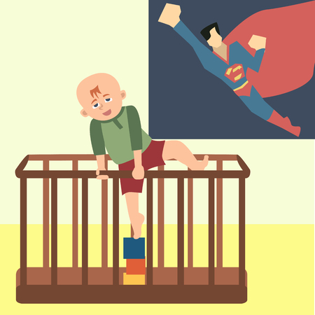 toddler trying to climb out of playpen  funny cartoon
