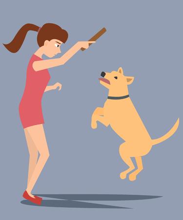 girl training dog vector cartoon Illustration