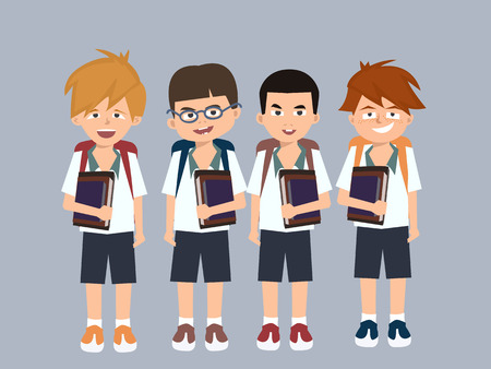 groupe kid with books going to school vector cartoon