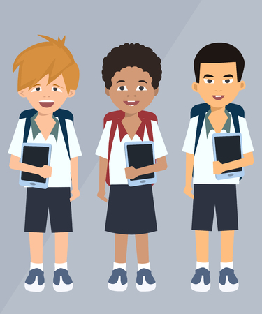 children with tablets vector cartoon