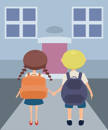 kids on their way to school vector cartoon Illustration