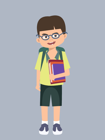 kid with books going to school vector cartoon Illustration