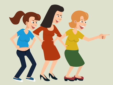Laughing and mocking women vector cartoon