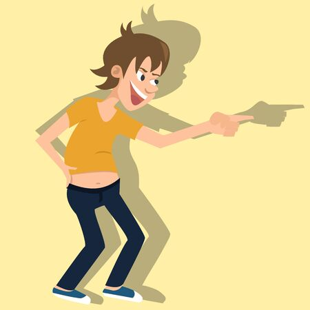 twit: Laughing person vector cartoon