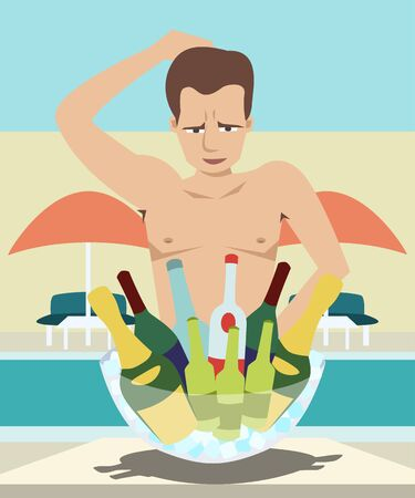 Man chooses drinks at pool party vector