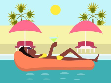 Girl in a pool with glass of cocktail Illustration
