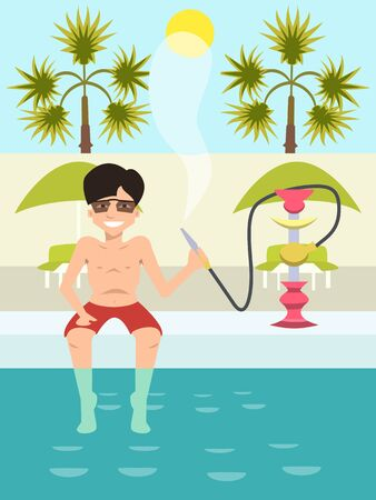 guy sitting by the pool with nargile cartoon