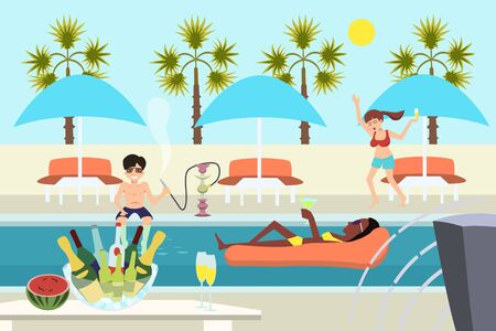 Junge Leute am Pool Party Vektor Cartoon Illustration
