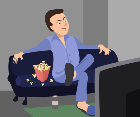 man watching TV with sarcastic expression - funny vector cartoon illustration Illustration