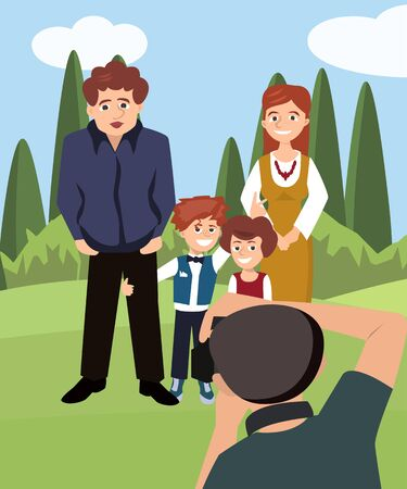 Family posing for a picture taking outdoors Illustration