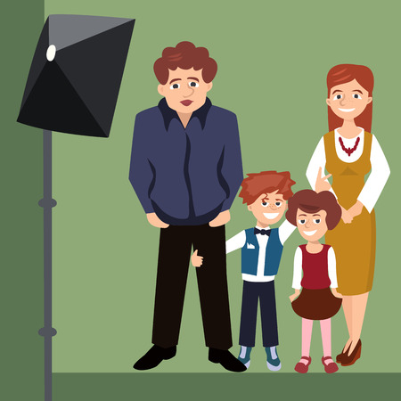 Family posing for a picture cartoon