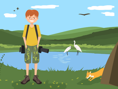 Nature photographer young guy character at wildlife background - funny vector cartoon illustration