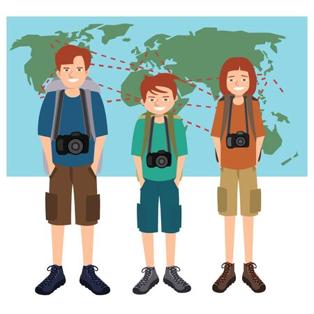 Travel photographers family vector cartoon Illustration