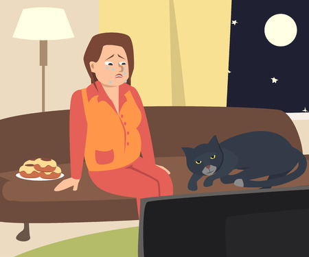 crying woman watching tv with cat