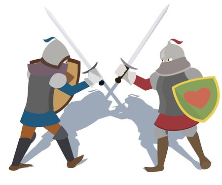 fighting knights vector cartoon Illustration