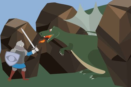 knight fighting the dragon vector cartoon