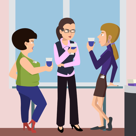 women at coffee break vector cartoon